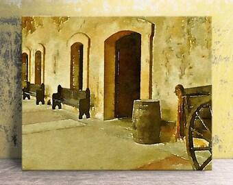 "Old San Juan Fort - San Juan Puerto Rico - Canvas Art Print - Puerto Rico Art - Puerto Rican Art - Travel Photo - Canvas Wall Art 16""x20"""