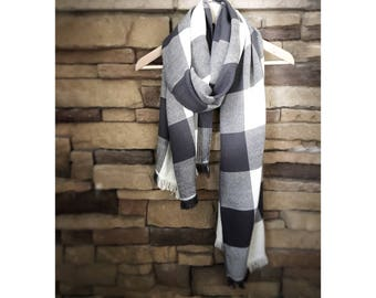 Cashmere silk big scarf handwoven white and charcoal