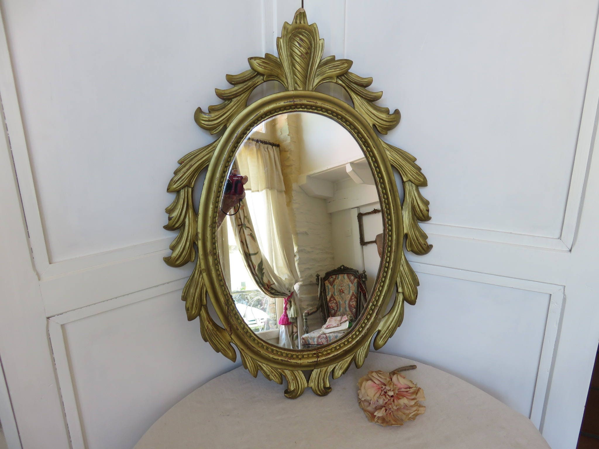 Large Antique French Gilt Wood Wall Mirror Gorgeous Paris