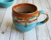 Colorful and Fun Coffee Mug in Dripping Glazes Stoneware Pottery Coffee Cup 13 oz. Made in USA Ready to Ship