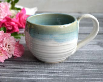 Coffee Cup in Soft Dripping Blue over White Glaze Stoneware Pottery Coffee Mug Made in USA Ready to Ship