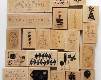22 Rubber Stamps Birthday Set Happy Birthdays presents balloons cake candles party hats