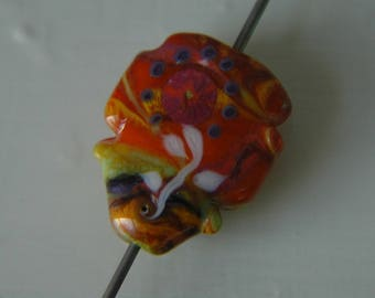Lampwork Glass Multi-colored Floral Focal