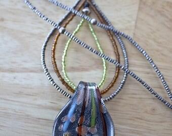 Layered Leaf Pendant Necklace