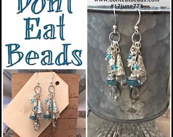 Blue Cluster Earrings #17june773