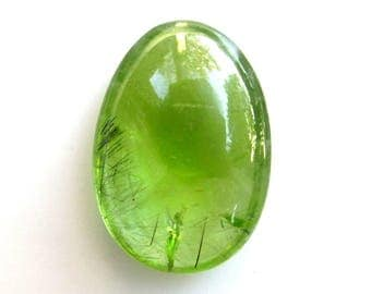 RESERVED Payment #2 - 14.9ct Peridot Cabochon with Black Tourmaline Crystal Inclusions 21x15mm Oval with PAPERWORK