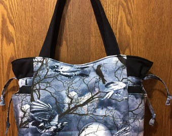 Ravens, Birds, Moon, Trees, Black White, Grey - Handbag, Purse, Tote, Shoulder Bag, Outside Pockets