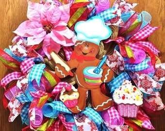 SALE & FREE SHIPPING Ginger Bread Baker Man Christmas - Welcome Door Wreath