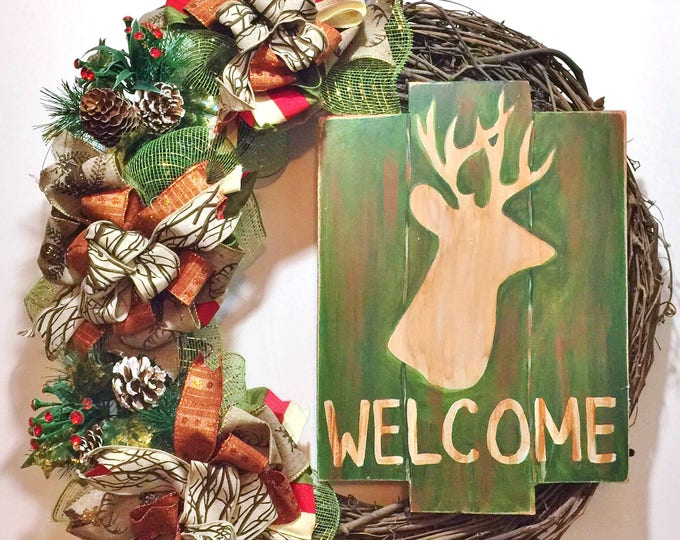 FREE SHIPPING Welcome Deer Hunting Antlers - Welcome Door Grapevine Wreath