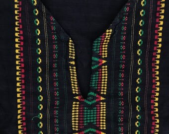 The Vintage Surfer Mexican Ethnic Rasta Jamaican Boho Black Tunic