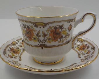 Vintage Bone China Tea Cup and Saucer - Made in England - Gold Gilding - Royal Stafford