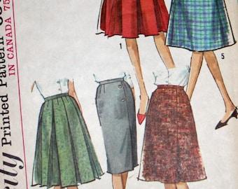 "Vintage 1960s Sewing Pattern, Simplicity 5627, Misses' Skirt Wardrobe, Misses' Size Waist 28"", Hip 38"""