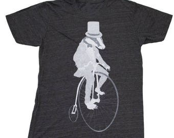 SUMMER SALE Badger on a Pennyfarthing Bicycle- Mens T Shirt, Unisex Tee,  Tri Blend Tee, Handmade graphic tee, sizes xs-xxl