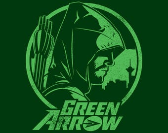GREEN ARROW tv show t-shirt screen printed unisex ladies womens youth Oliver Queen Stephen Amell