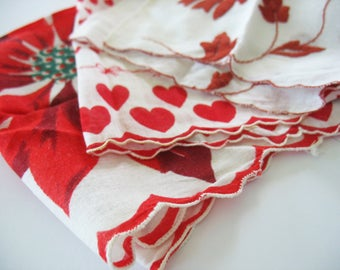 Vintage Handkerchiefs Hankies 3 Piece Lot Floral Poinsettia Hearts Embroidery Scalloped Edge Red White Sharp Colors Crafts