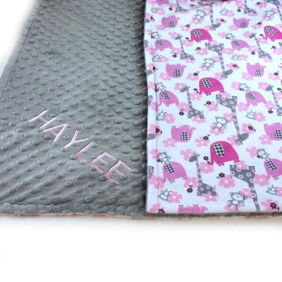 Toddler Blanket / Pink Elephant Blanket / 48 x 60 Minky Blanket Girl, Pink Gray Animal Personalized Baby Blanket - Minky Throw Blanket