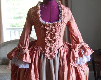Muted red silk and shimmer satin Marie Antoinette Victorian inspired rococo costume dress halloween