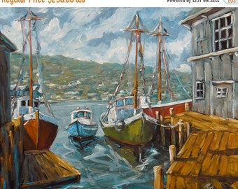 On Sale Dockside Boats Original Painting by Prankearts