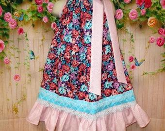 Girls Dress 4T/5 Blue Coral Orange Turquoise Flower Pillowcase Dress Sundress