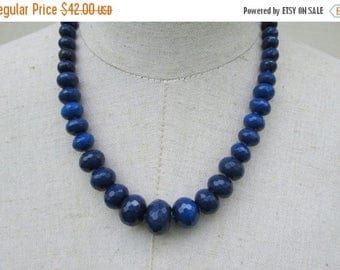 XMAS in JULY SALE Dark  Sapphire Blue Faceted Gemstone Beaded Graduated Necklace