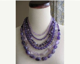 XMAS in JULY SALE Amethyst  Dreams Purple Statement necklace Chunky Layered Beads