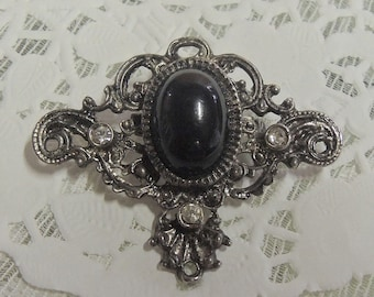 Vintage Silver And Onyx Brooch Made in Germany circa 1950