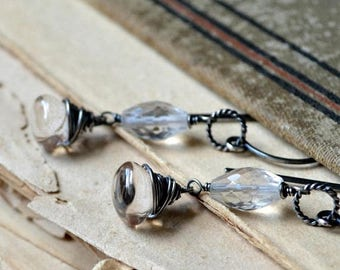 ON SALE Wire wrapped gemstone earrings, sterling silver, rustic wedding - Silver Spring