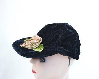 Vintage Black Velvet Baseball Cap With Silk Ribbon Rose Trim / Vintage Boho Velvet Baseball Cap
