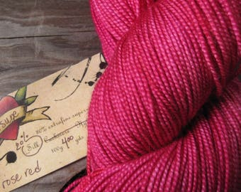 Rose Red semisolid on Kitsune 20% Silk sock weight