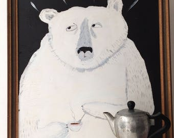 Painting on reclaimed wood in a reclaimed frame of a polar bear with coffee