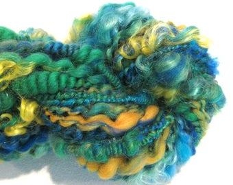 Bulky Handspun Yarn Summer Sun 50 yards blue green yellow art yarn thread plied art yarn sparkly yarn knitting supplies waldorf doll hair