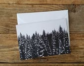 Black & White Snowy Pines Greeting Cards | Graphic Cards | Snowy Pines Greeting Cards | Holiday Greeting Cards