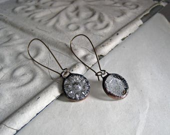 Ooak Mismatched Glass Button Earrings Recycled Jewelry