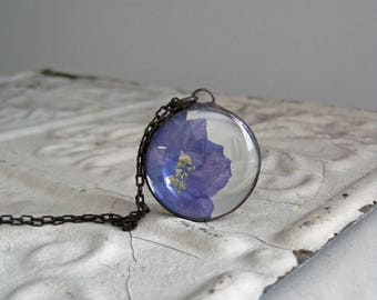 Violet Pressed Flower Larkspur Necklace, Spring Flowers Jewelry, Brass Chain