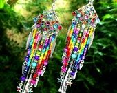 Boho Rainbow . Boucles d'oreilles bohèmes argent 925 rocailles agate strass cristal multicolore design original