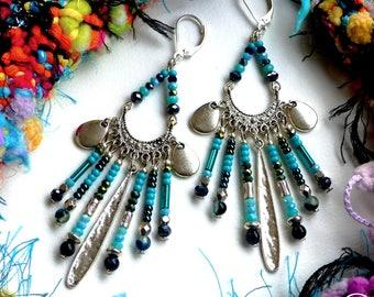 Ethnic Spirit . Boucles d'oreilles Uniques ethniques argent925 turquoise noir agate verre laiton argenté design original Tikaille