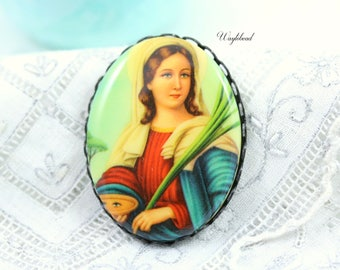 Vintage Oval Virgin Mary Plastic Woman Cabochon 40x30mm - 1