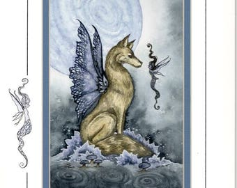 Hand Accented wolf fairy 5x7 matted 8x10 by Amy Brown