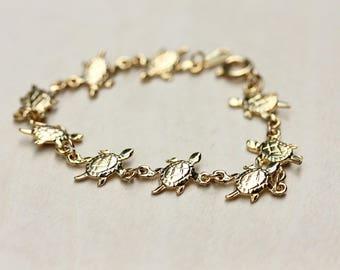 Turtle Bracelet Gold, Turtle Bracelet, Gold Chain Bracelet, Gold Bracelet, Thin Gold Chain, Chain Bracelet, Turtle Chain, Turtle