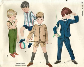 Vintage 60s Vogue 5498 Boys School Uniform-Jacket, Shirt,  Suspender Pants, Shorts Sewing Pattern Size 5