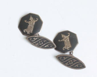Siam Niello Sterling Cufflinks Thai Dancer Cuff Links Cable Chain Double Face Vintage