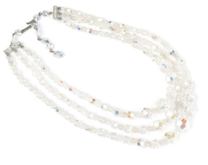Three Strand AB Crystal Necklace Choker Length Graduated Faceted Beads Vintage