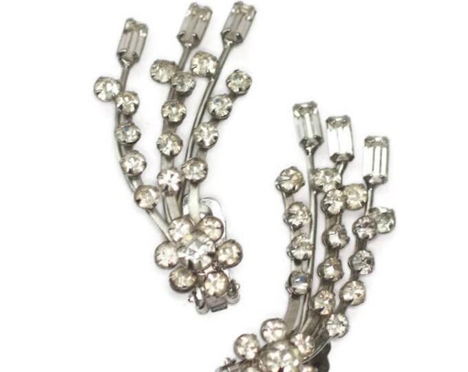 Long Crystal Rhinestone Earrings Ear Climbers Vintage