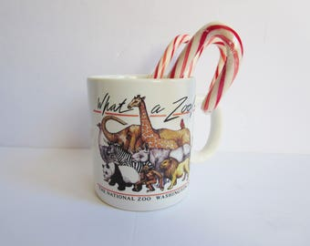 Vintage Coffee Mug - What a Zoo Mug From The National Zoo Washington DC -  Travel USA Souvenir Animals Mug -  Zoo Animals Mug  - 1980s