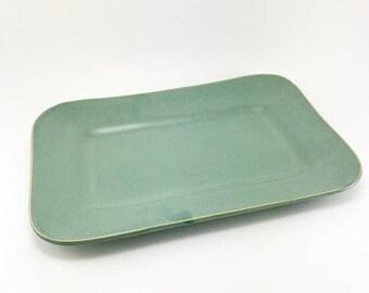 Ceramic Serving Platter, Stoneware Serving Platter, Pottery Platter, Green Pottery