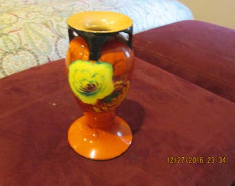 Orange vase yellow and orange flowers, made in Japan, good condition hand painted