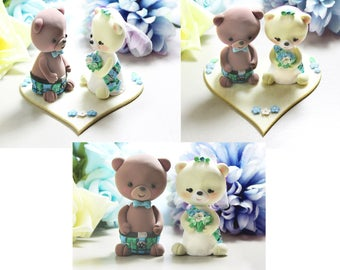 Unique Scottish kilt tartan wedding cake toppers Bears + felt base/stand - cute personalized brown ivory anniversary traditional blue green