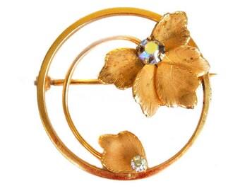 1950s Uncas 12K GF with Aurora Borealis Rhinestone Round Gold Filled Enamel Leaf Leaves Vintage Circie Pin Brooch