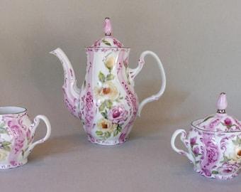 Pink and Yellow Rose Tea Set