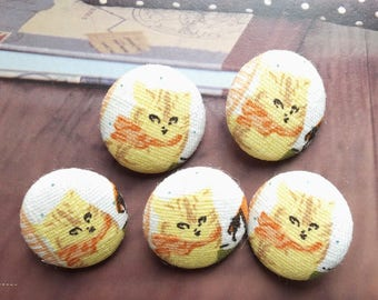 Retro Lovely French Style Orange Bow Yellow Kitty Cats-Handmade Fabric Covered Buttons(0.75 Inches, 5PCS)